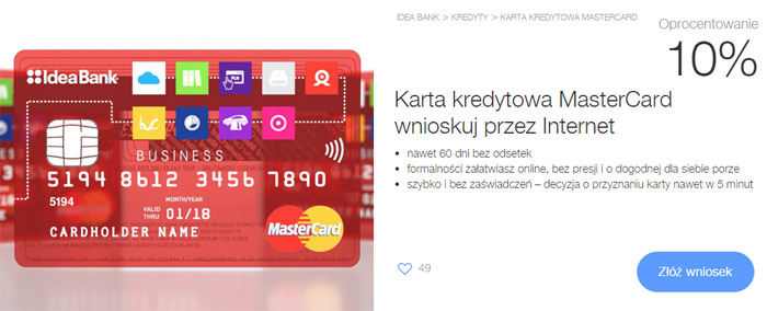 Karta kredytowa dla firm Idea Bank