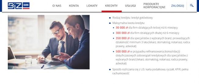 Kredyt dla profesjonalistów Biz Bank