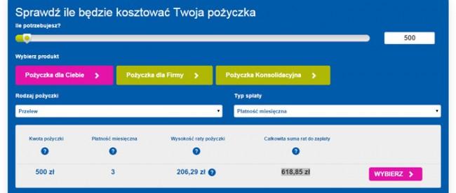 Pożyczka 500 zł na 3 miesiące