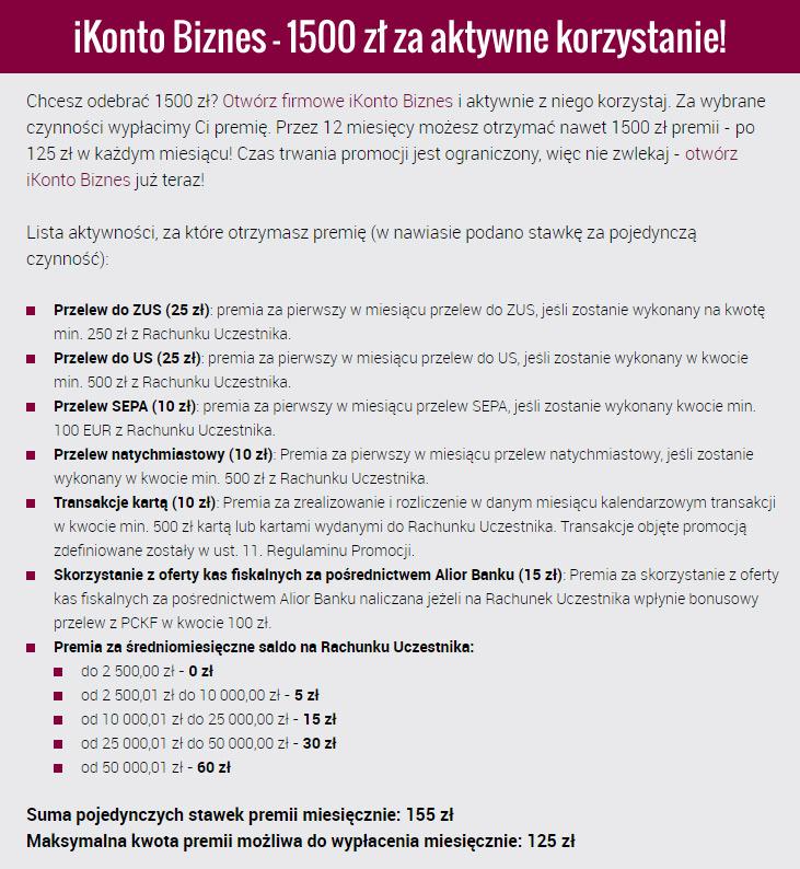 warunki uzyskania premii 1500 zł