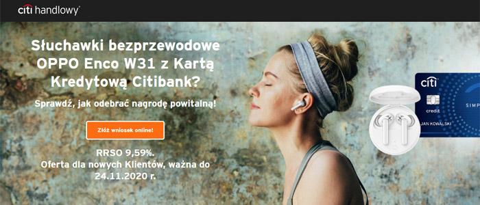 Słuchawki bezprzewodowe OPPO w ofercie karty kredytowej Citi