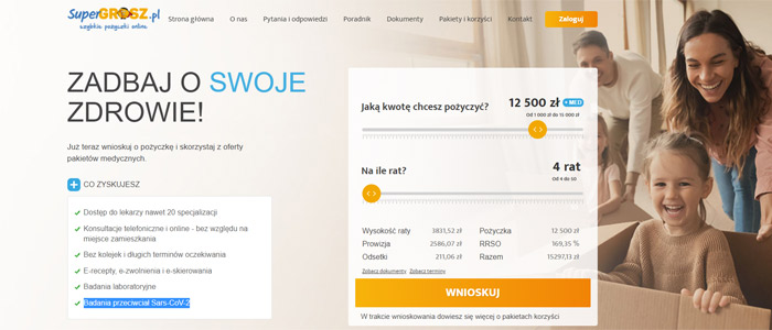 Pożyczka 12 500 zł online w Super Grosz - dla nowych klientów | Banki24 SuperGrosz